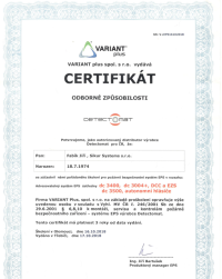 EPS certifikát Detectomat - Sikur Systems s.r.o.