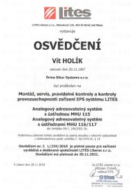 EPS certifikát Lites - Sikur Systems s.r.o.